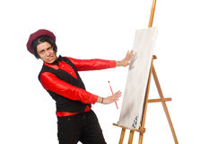Funny artist on white Royalty Free Stock Images