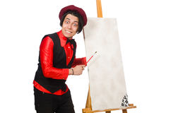 The funny artist on white Stock Images