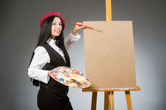 Funny artist working in the studio Royalty Free Stock Images