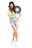 Funny Artistic Entertainer with Retro Vinyl Record. Happy Artistic Entertainer with Retro Vinyl Record Stock Photography