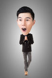 Funny Asian big head man. Full length portrait Stock Image
