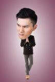 Funny Asian big head man. Full length portrait Royalty Free Stock Photography