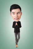 Funny Asian big head man Royalty Free Stock Photography