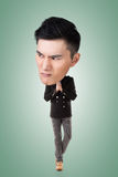 Funny Asian big head man. Full length portrait Stock Image