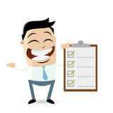 Funny asian businessman with checklist. Illustration of a funny asian businessman with checklist Stock Photography