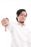Funny Asian Man Showing Thumb Down Gesture stock images