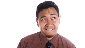 Funny Asian Man Close Up Smiling Thinking Face Royalty Free Stock Images