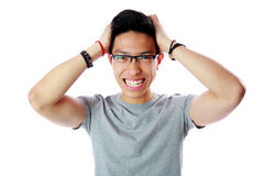 Funny asian man touching his head Royalty Free Stock Photo
