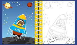 Funny astronaout cartoon on rocket in space, coloring book/page royalty free illustration