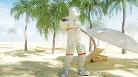 Funny astronaut dancing on sunny seaside. Tourism and rest concept. Realistic 4K animation.