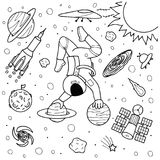 Funny astronaut doing yoga on planets. In space design for print,illustration and coloring book page for kids and adult Stock Photo
