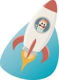 Funny astronaut flying in a space rocket Stock Photography
