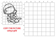 Funny astronaut game. Vector illustration of grid copy puzzle with happy cartoon astronaut for children Royalty Free Stock Photography