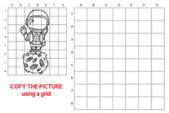 Funny astronaut game. Vector illustration of grid copy puzzle with happy cartoon astronaut for children Royalty Free Stock Photo