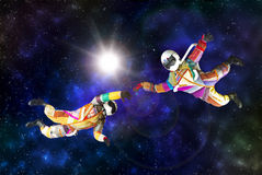 Funny astronaut on outer cosmo Stock Photography
