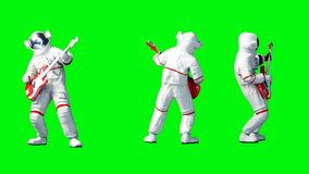 Funny astronaut play to bass guitar . Green screen. 3d renderimg. Funny astronaut play to bass guitar . Green screen. 3d renderimg Stock Photography