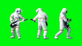 Funny astronaut play to bass guitar . Green screen. 3d renderimg. Funny astronaut play to bass guitar . Green screen. 3d renderimg Royalty Free Stock Photos