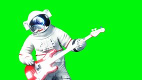Funny astronaut play to bass guitar . Green screen. 3d renderimg. Funny astronaut play to bass guitar . Green screen. 3d renderimg Stock Photo