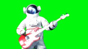 Funny astronaut play to bass guitar . Green screen. Realistic 4k animation. stock footage
