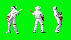 Funny astronaut play to bass guitar . Green screen. Realistic 4k animation.