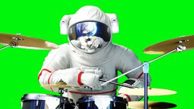 Funny astronaut play to drums . Green screen. 3d rendering. Funny astronaut play to drums . Green screen. 3d rendering Royalty Free Stock Images