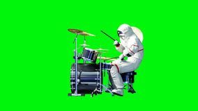 Funny astronaut play to drums . Green screen. 3d rendering. Funny astronaut play to drums . Green screen. 3d rendering Stock Photos