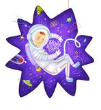 Funny astronaut in space suit in weightlessness Made of stars illustration stock photos