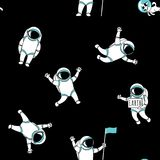 Funny astronaut spaceman characters exploring outer space seamless background pattern Royalty Free Stock Photography