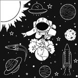 Funny astronaut watering the trees he has grown on earth to save the world, for design element and coloring book page for kids and Stock Images