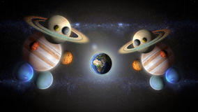 Funny astronauts of planets observe earth planet. Astronauts of planets observe the world planet Royalty Free Stock Photo