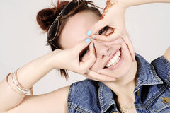 Funny attractive hipster girl clowning, happy lifestyle concept Stock Photo