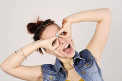 Funny attractive hipster girl clowning, happy lifestyle concept Stock Photos