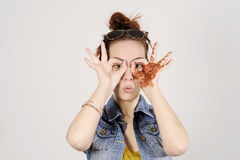 Funny attractive and trendy hipster girl clowning, happy lifestyle concept Stock Photo
