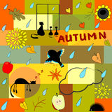 Funny autumn background Stock Photos