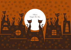 Cartoon background with cats. Funny autumn background with cats silhouettes, leaves and full moon Royalty Free Stock Photography