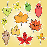 Funny autumn leaves illustration for kids. Funny autumn leaves, illustration for kids, leaf set, autumn leaves, leaves with face, autumn illustration, autumn Stock Photo