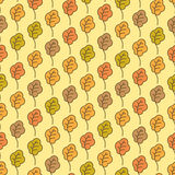 Funny autumn oak leaves seamless pattern Stock Image