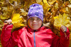 Funny autumn portrait of young girl Stock Images