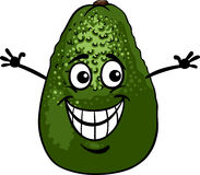 Funny avocado fruit cartoon illustration Royalty Free Stock Images