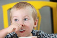 Funny babe blondes licks  finger with yogurt. Funny babe boy blondes licks finger with yogurt Royalty Free Stock Photos