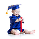 Funny baby in academician clothes Stock Photo