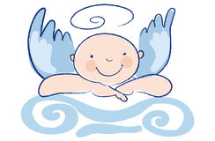Funny Baby angel leans on a column Stock Image