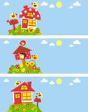 Design with birds and homes. Funny baby banners with birds and houses Royalty Free Stock Photos