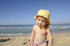 Funny baby on the beach Royalty Free Stock Photo