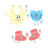 Funny baby booties, diaper, bib characters, infant clothes, child care. Concept, cartoon vector illustration on white background. Baby booties, diaper, bib vector illustration