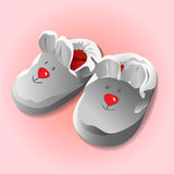 Funny baby booties for newborn. Vector illustration stock illustration