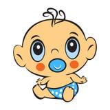 Funny baby boy. Cute baby boy sitting in a diaper  Stock Photos