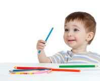 Funny Baby Boy Drawing With Color Pencils Royalty Free Stock Photo