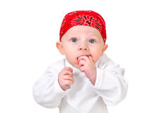 Funny Baby Boy in Headscarf Stock Photo