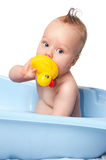Funny baby boy taking bath isolated Royalty Free Stock Image
